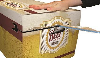 Beer box being torn open with Sesame tape.