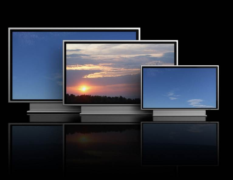 Different television monitors representing display adhesives from H.B. Fuller for electronics.
