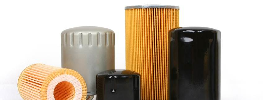 Assortment of oil and engine filters enhanced by H.B. Fuller adhesives.